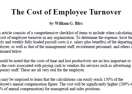 Cost of employee turnover pdf
